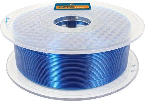 Eine transparente Spule mit blauem FFF world PETG Filament
