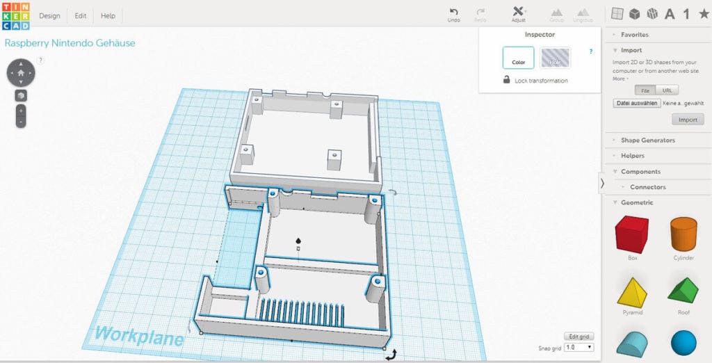 Das Webinterface der Tinkercad 3D-Modellier Software